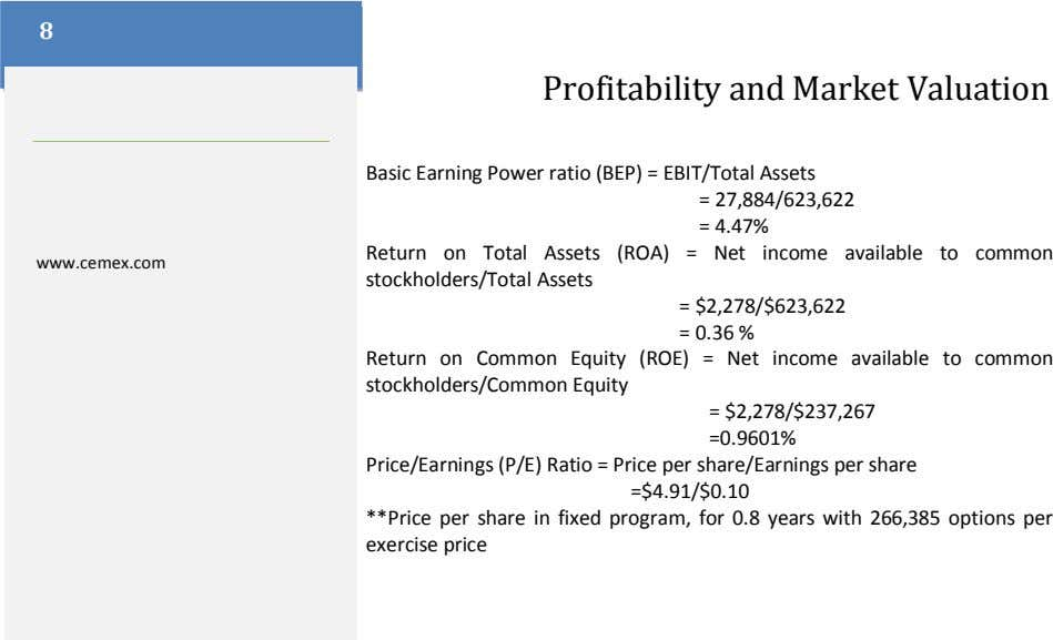 8 Profitability and Market Valuation Basic Earning Power ratio (BEP) = EBIT/Total Assets = 27,884/623,622