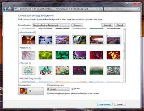 Desktop Slideshow: Select multiple background images, and Windows will cycle through them 30. Customize the