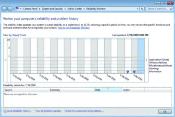 of the tool to view all problems and check for solutions. The Reliability Monitor: Show history