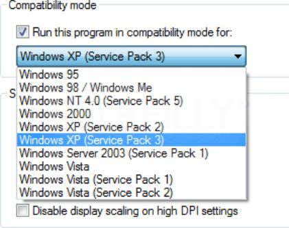 Compatibility Properties: Selecting the Windows version to run the application in Compatibility Mode 3. Create
