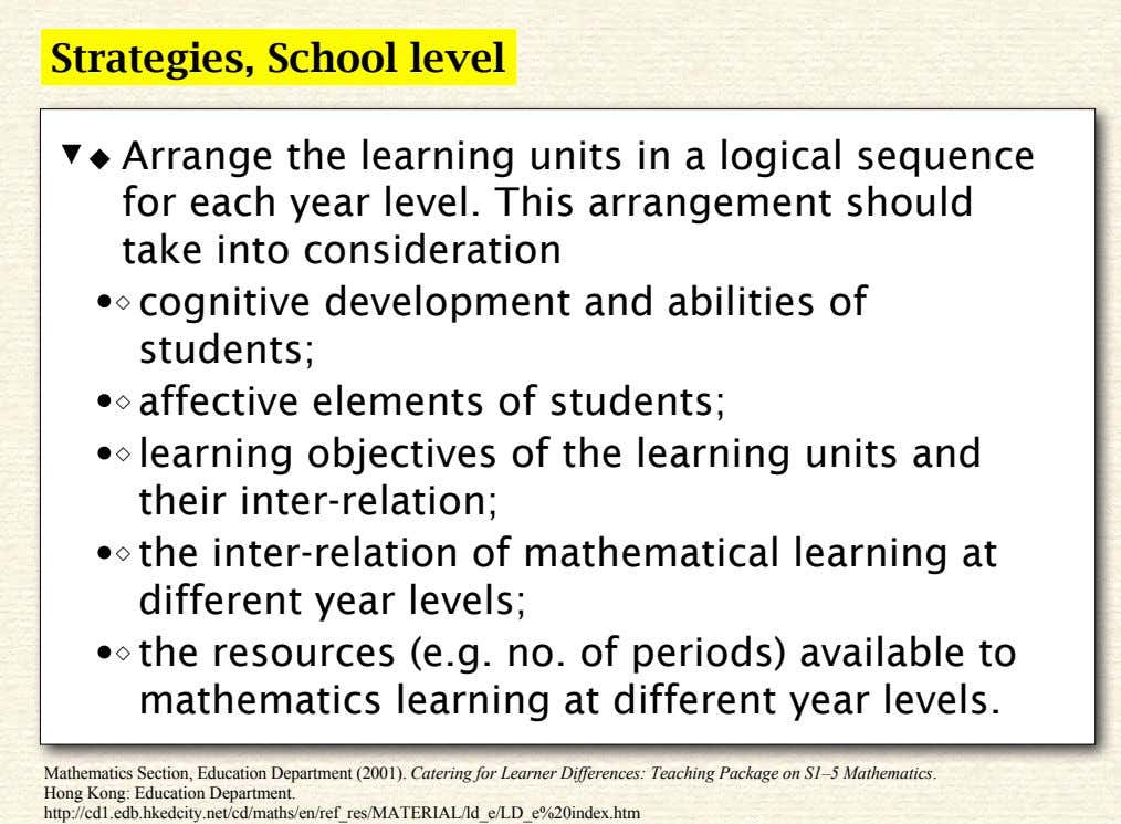 Strategies, School level ◆ Arrange the learning units in a logical sequence for each year