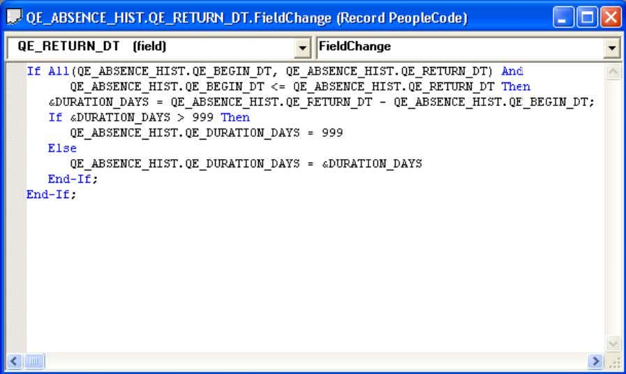 Chapter 2 Using PeopleSoft Application Designer Working in the PeopleCode editor Application Packages Editor From an