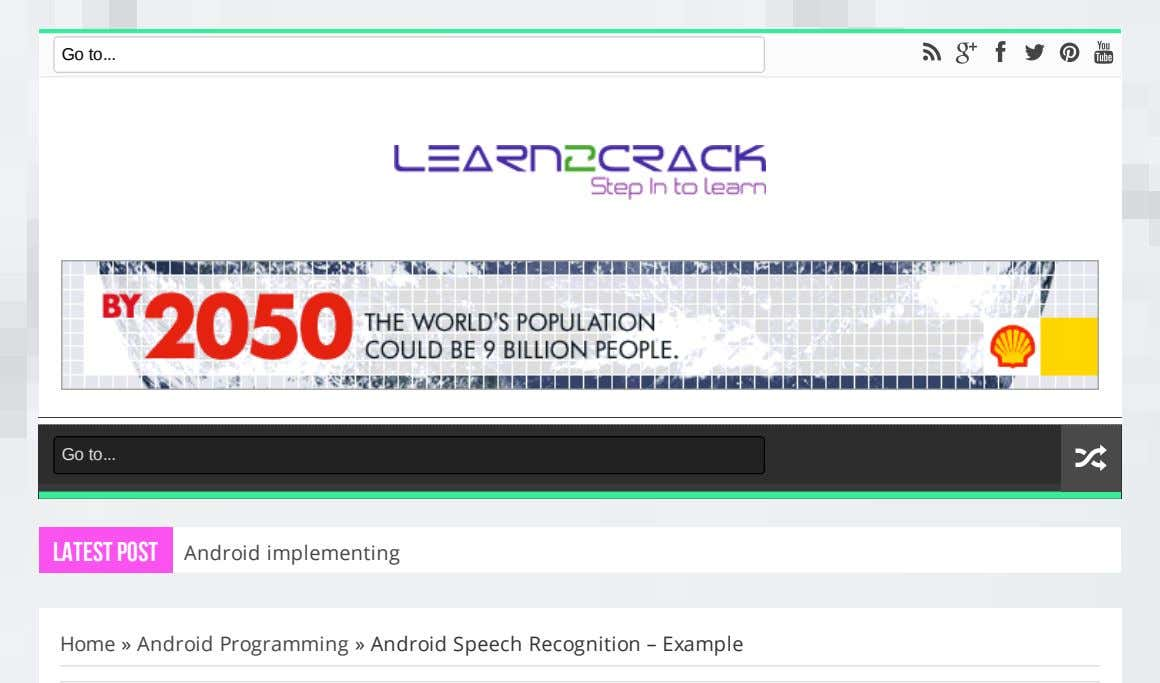 Go to Go to Latest Post Android implementing Home » Android Programming » Android Speech