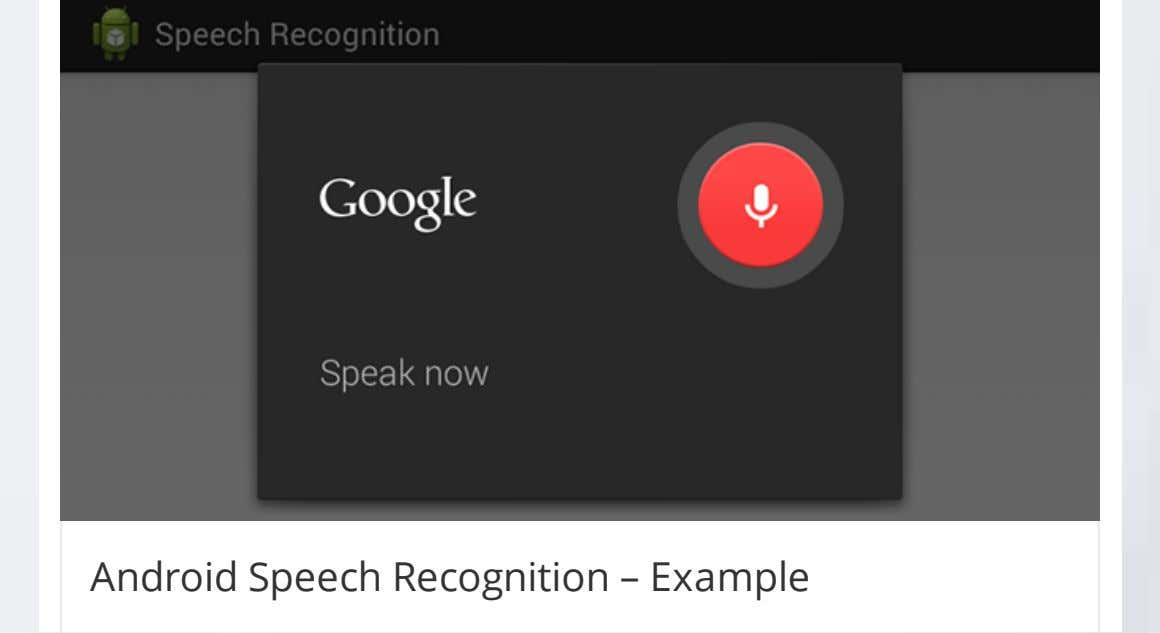 Android Speech Recognition – Example