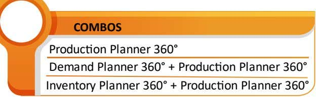 COMBOS Produc�on Planner 360° Demand Planner 360° + Produc�on Planner 360° Inventory Planner 360° +