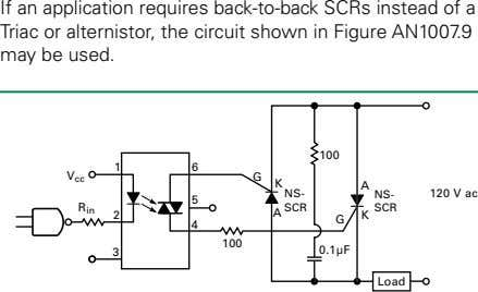 If an application requires back-to-back SCRs instead of a Triac or alternistor, the circuit shown