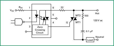 G MT1 3 Zero Crossing 0.1 μF Circuit Neutral Load Figure AN1007.11 Optocoupled Circuit with Zero-crossing