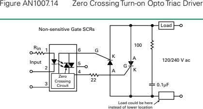 Figure AN1007.14 Zero Crossing Turn-on Opto Triac Driver Load Non-sensitive Gate SCRs 100 R in