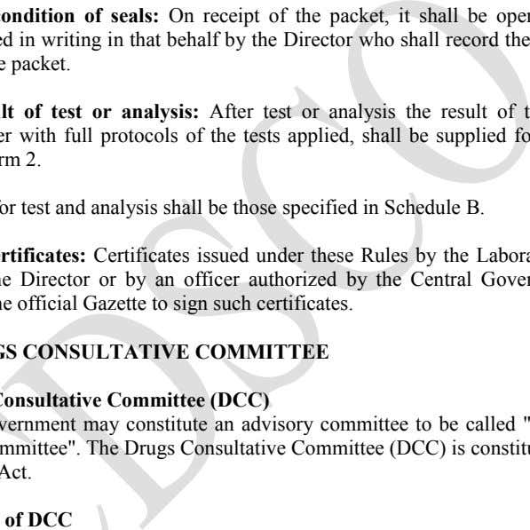 who shall record the condition of the seal on the packet. Report of result of test