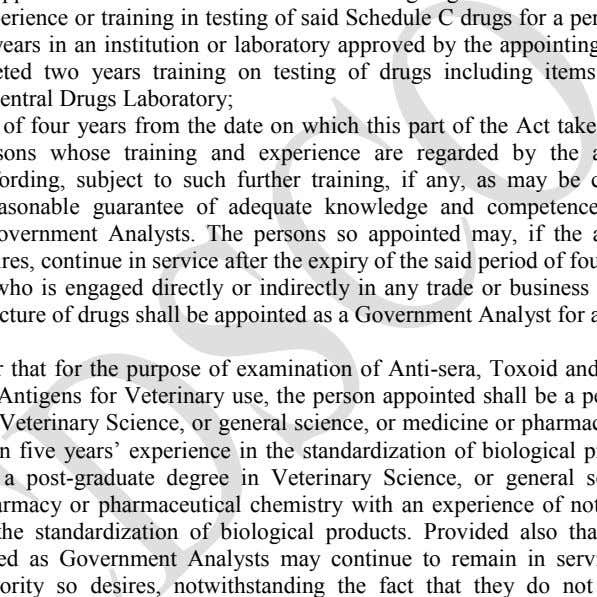 or laboratory approved by the appointing authority or have completed two years training on testing of