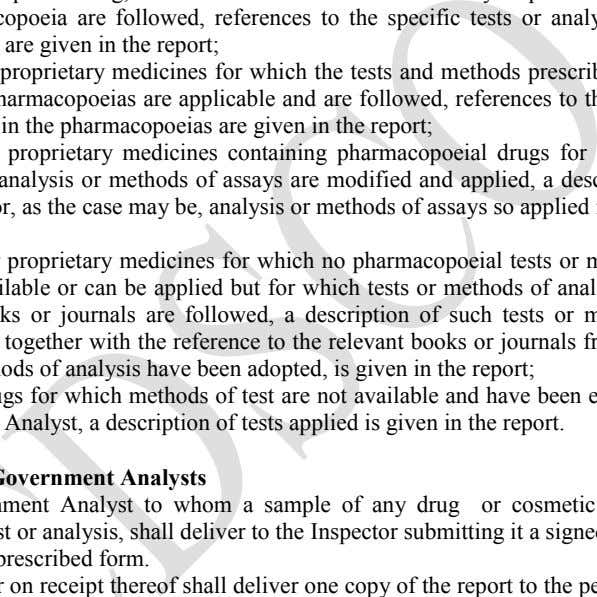 a description of tests applied is given in the report. II. Reports of Government Analysts (