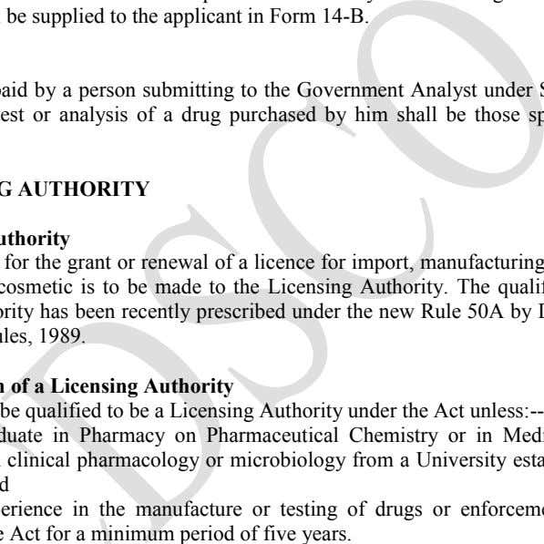 application shall be supplied to the applicant in Form 14-B. IV. Fees The fees to be