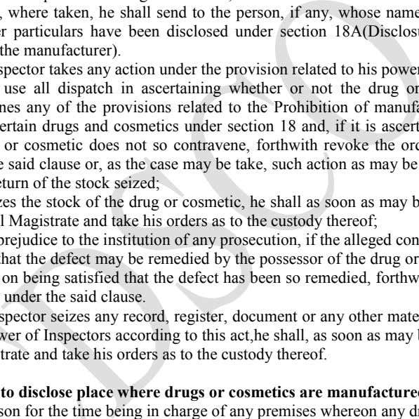 have been disclosed under section 18A(Disclosure of the name of the manufacturer). (5) Where an Inspector