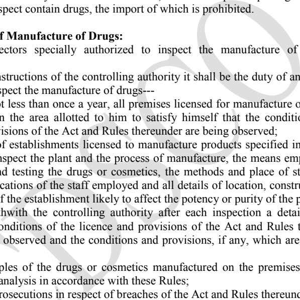 to suspect contain drugs, the import of which is prohibited. II. Duties of Inspectors specially authorized