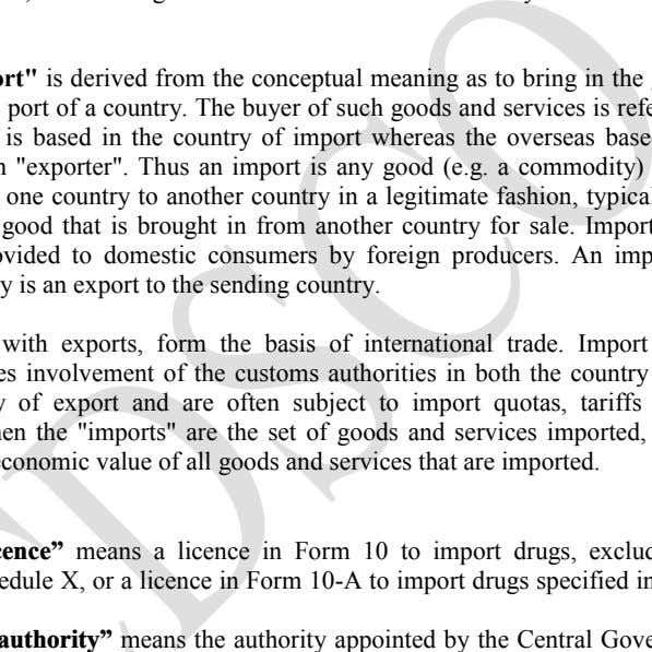 "to the Customs Collector by the manufacture of importer. The term ""import"" is derived from the"