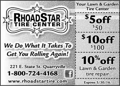 Your Lawn & Garden Tire Center $ 5 off $ 50 $ 10off We Do
