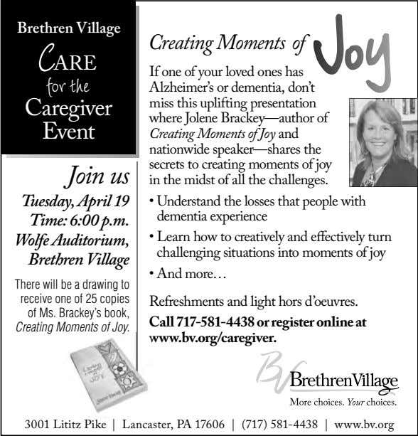 Brethren Village Creating Moments of CARE for the Caregiver Event Join us If one of