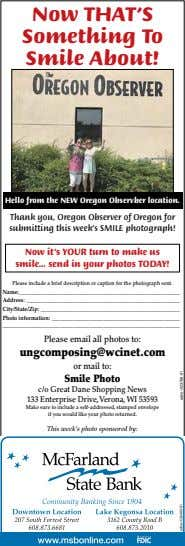 Now THAT'S Something To Smile About! Hello from the NEW Oregon Observber location. Thank you,