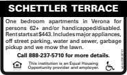 SCHETTLER TERRACE One bedroom apartments in Verona for persons 62+ and/or handicapped/disabled. Rent starts at