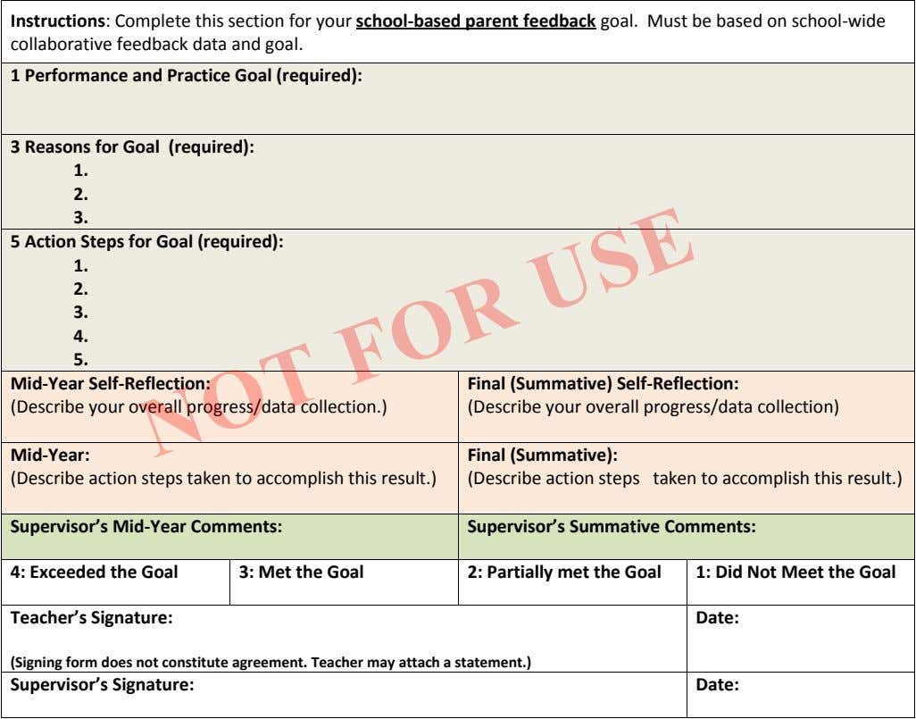 Instructions: Complete this section for your school-based parent feedback goal. Must be based on school-wide