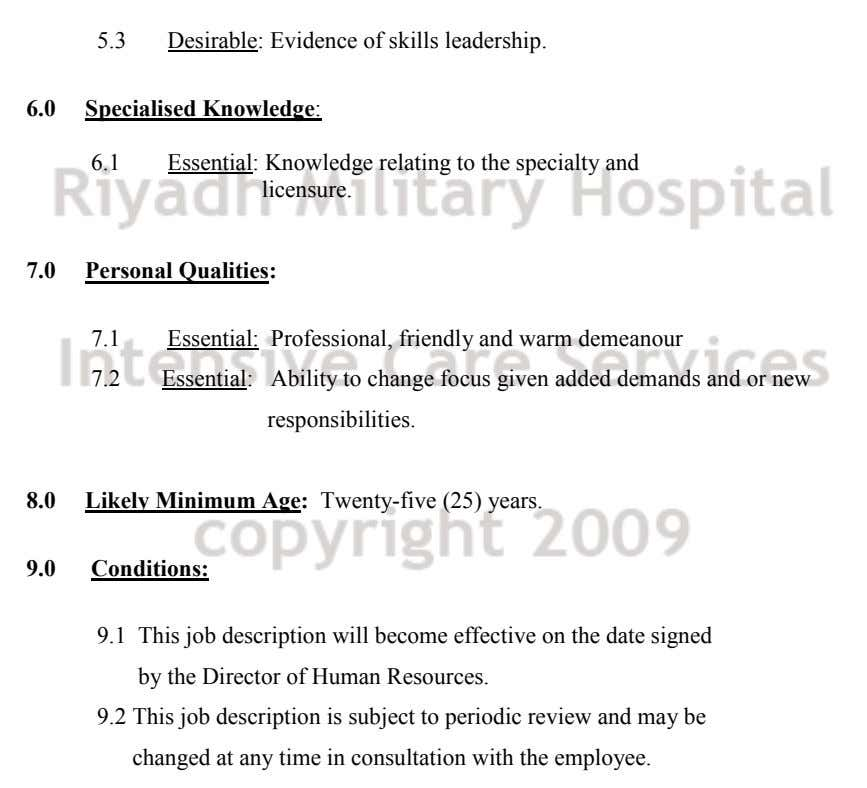5.3 Desirable: Evidence of skills leadership. 6.0 Specialised Knowledge: 6.1 Essential: Knowledge relating to the