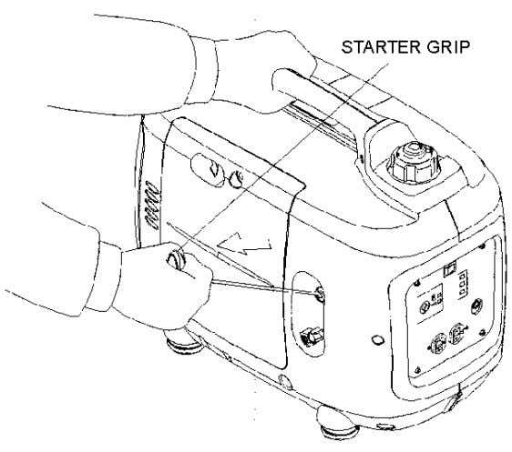 the starter grip to snap back, Return it slowly by hand. 5. Move the choke lever