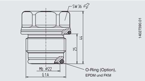 in mm O-Ring (Option), EPDM und FKM 14027390.01 O-Ring zur Abdichtung (Option) Abmessungen: 21,82 x 3,53