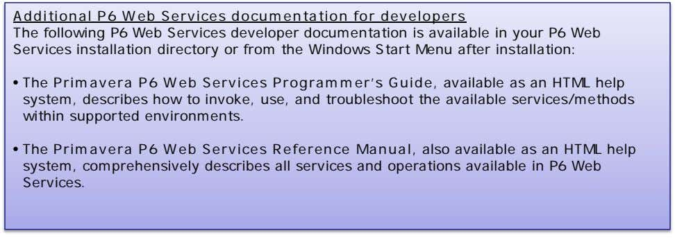 Additional P6 Web Services documentation for developers The following P6 Web Services developer documentation is
