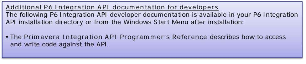Additional P6 Integration API documentation for developers The following P6 Integration API developer documentation is