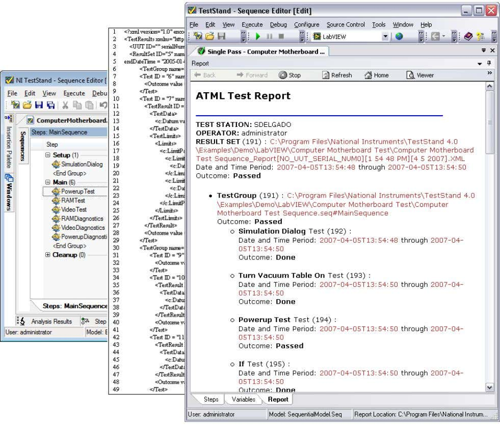 Fig example of an NI TestStand ATML test report stylesheet displays TestResults XML data in