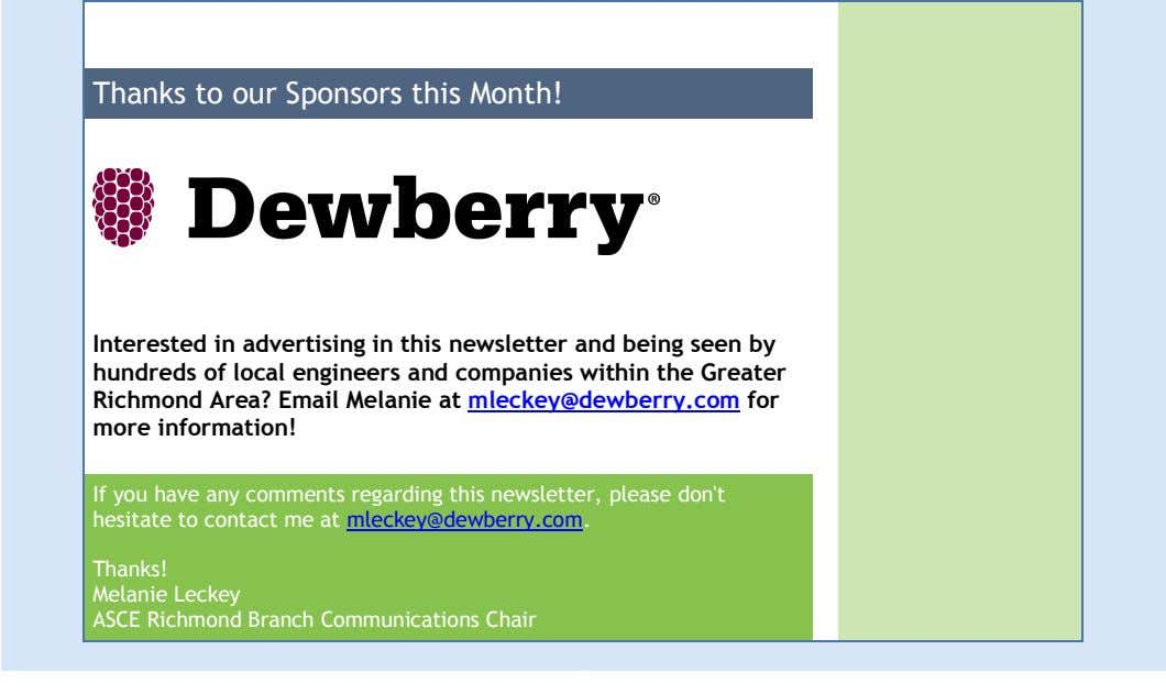 Thanks to our Sponsors this Month! Interested in advertising in this newsletter and being seen