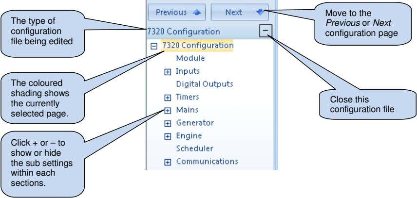The type of configuration file being edited Move to the Previous or Next configuration page