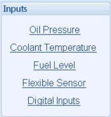 sections. Select the required section with the mouse. 6.4.1 OIL PRESSURE Select the sensor type Click