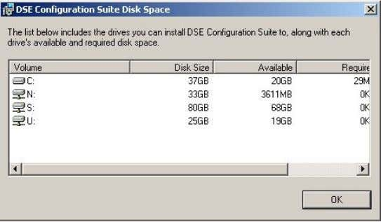 Select Disk Cost to view remaining disk space, Click Next to continue. Example showing the Disk