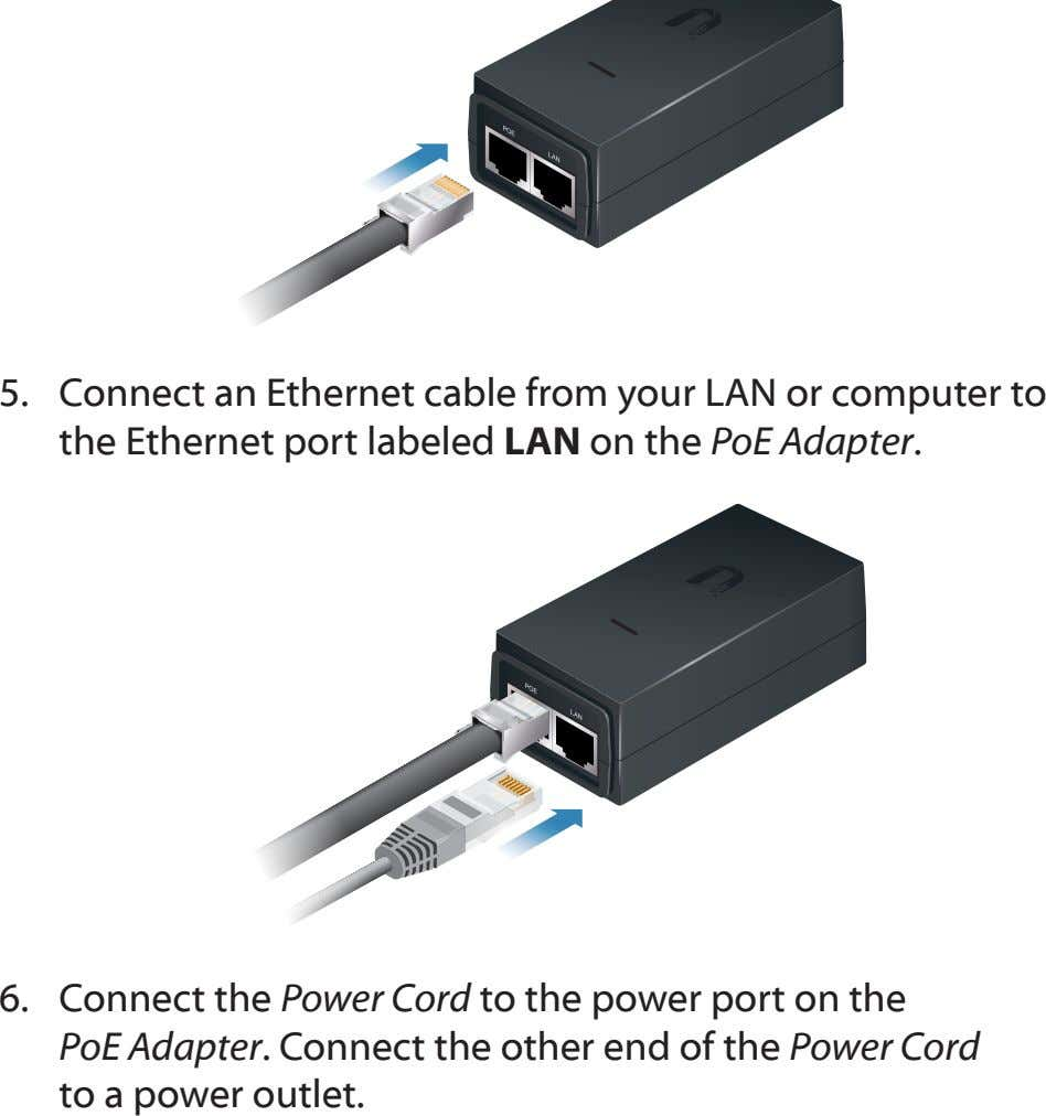 5. Connect an Ethernet cable from your LAN or computer to the Ethernet port labeled