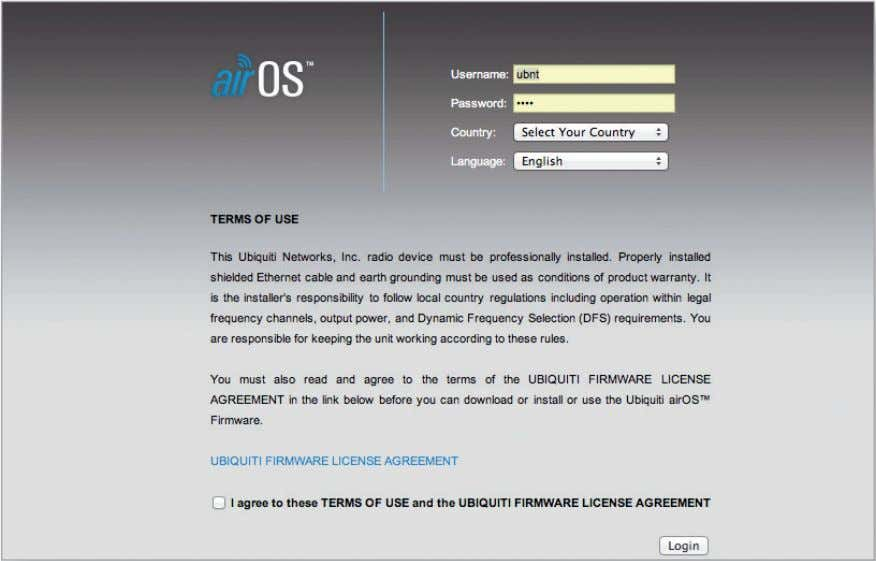 Firmware License Agreement to use the product. Click Login. Note: For the Country setting, U.S. product