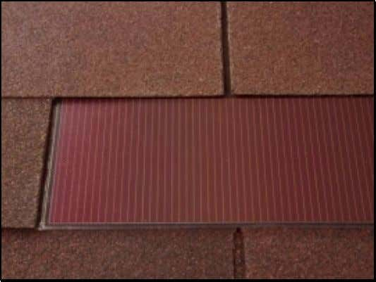 PV Products This is a three-tab PV roofing shingle product produced by UniSolar. A close up