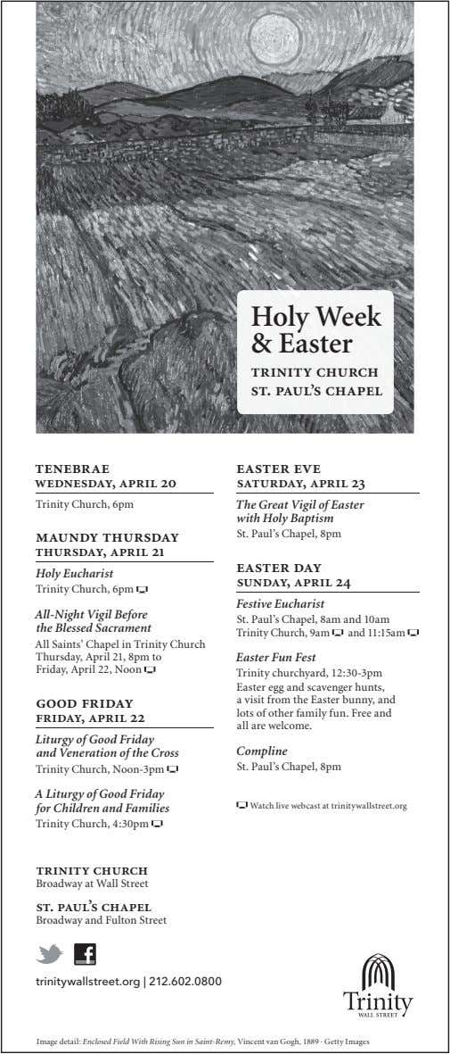 Holy Week & Easter trinity church st. paul's chapel tenebrae easter eve wednesday, april 20