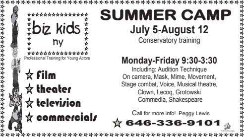 biz ny kids Professional Training for Young Actors Film theater television commercials SUMMER CAMP July