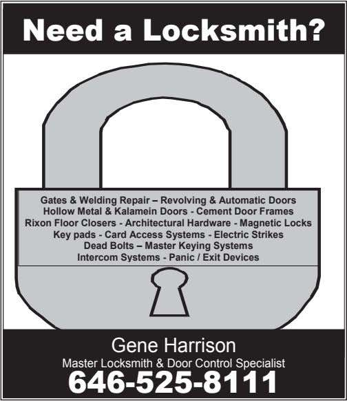 Need a Locksmith? Gates & Welding Repair – Revolving & Automatic Doors Hollow Metal &
