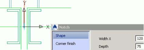 example, enter the notch width and depth on the Shape tab. Example : Creating an exact