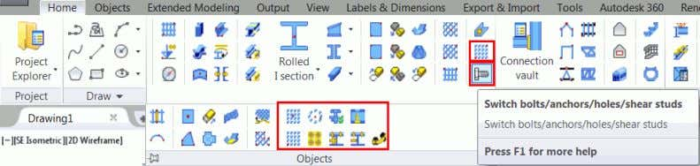 tools are grouped on the Objects panel, on the Home tab. Example : Creating a rectangular