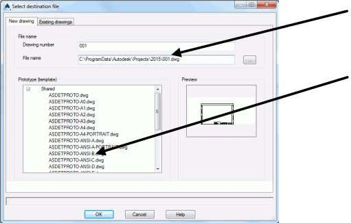 "The ""Select destination file"" dialog box appears. Set a path for a separate DWG in which"