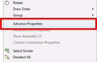 Click • Right click the element and select Advance Properties from the context menu. • Double