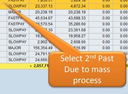 Select 2 nd Past Due to mass process