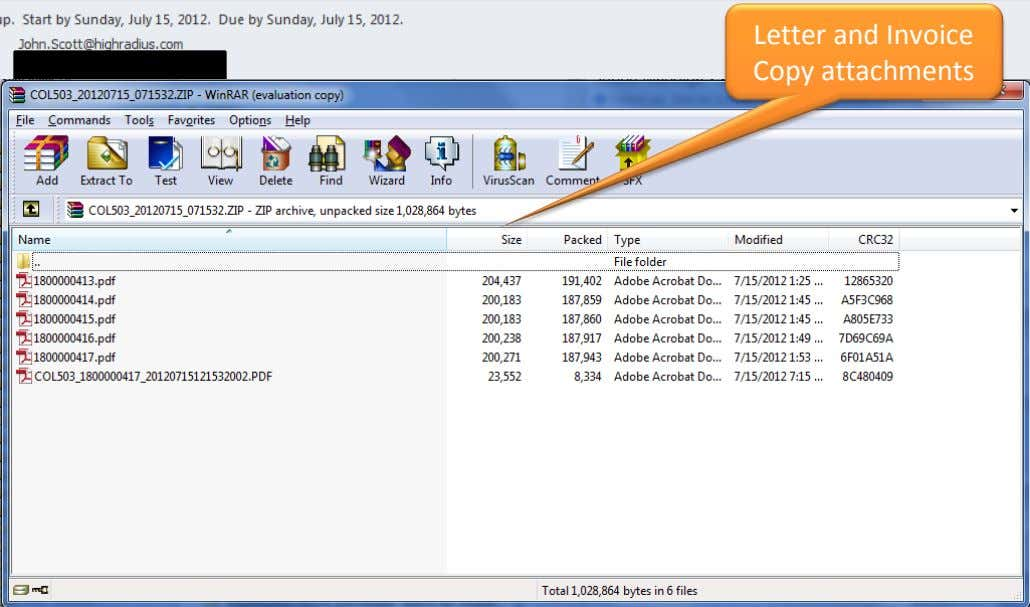 Letter and Invoice Copy attachments