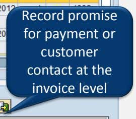Record promise for payment or customer contact at the invoice level