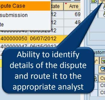 Ability to identify details of the dispute and route it to the appropriate analyst