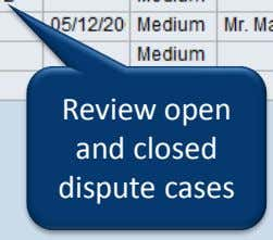 Review open and closed dispute cases