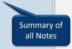 Summary of all Notes